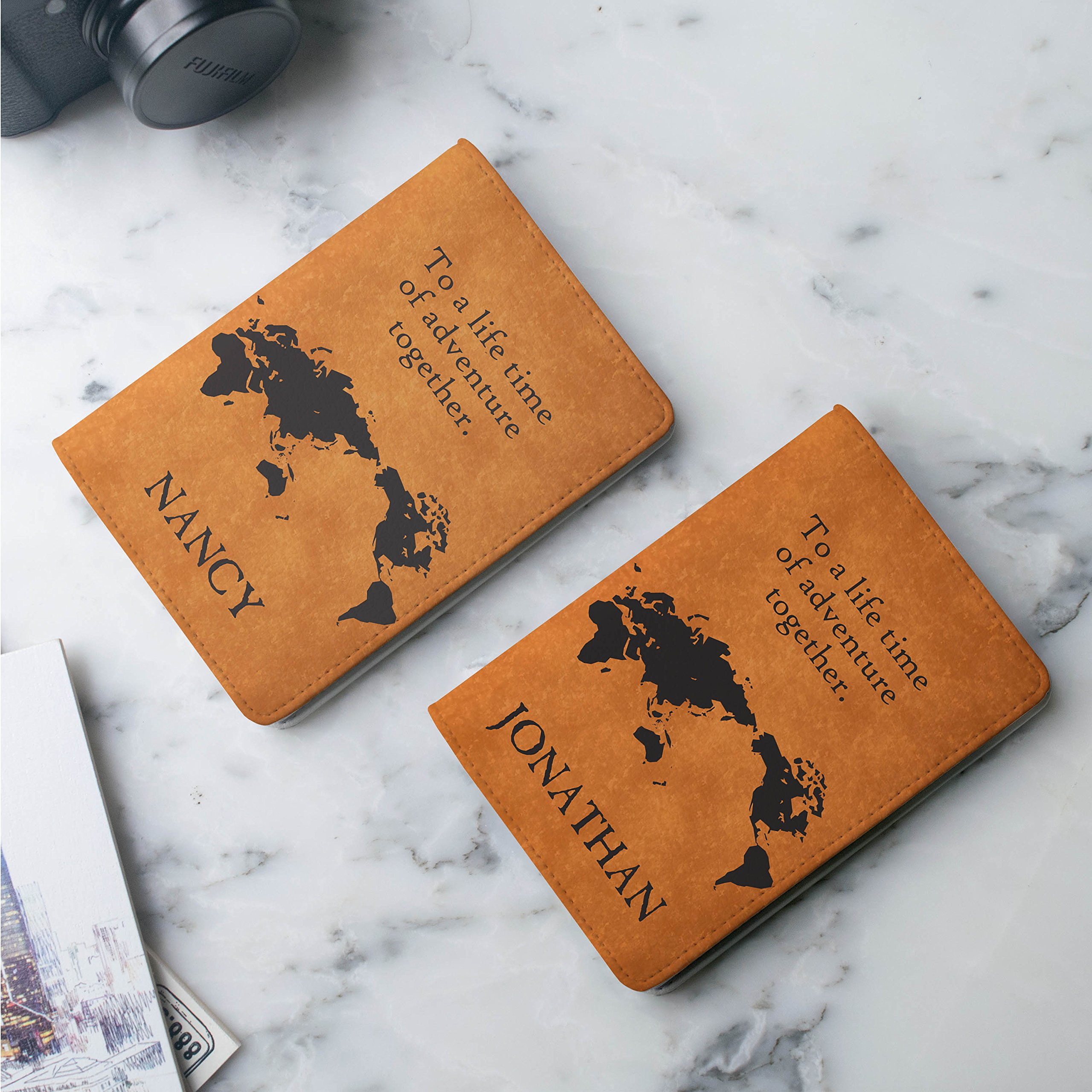 Couple passport holder Set of 2 - Personalized with your Names by Handmade Curious (Image #4)