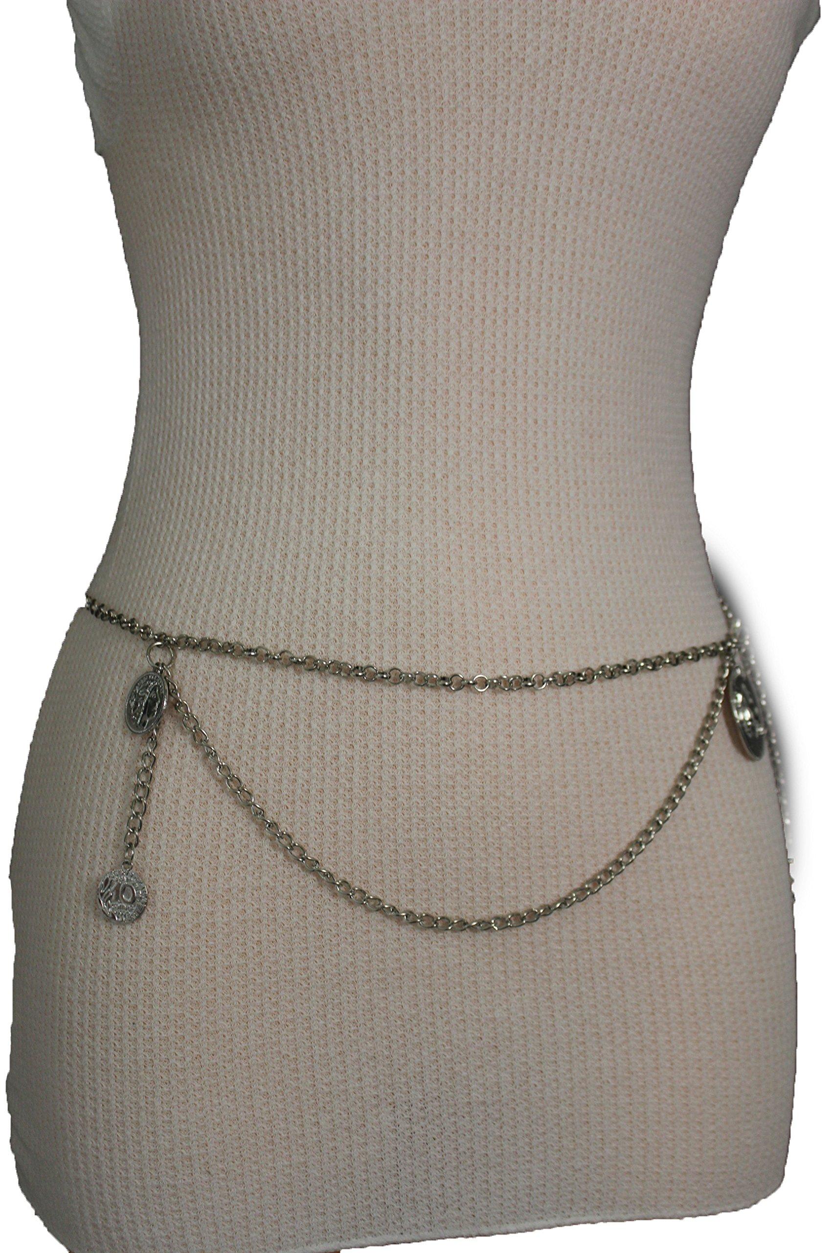 TFJ Women Fashion Metal Chain Belt Hip Waist Links Coin Charm M L XL Silver