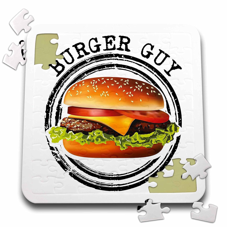 3dRose Carsten Reisinger - Illustrations - Burger Guy Cool Hamburger Cheeseburger Sandwich Barbecue BBQ Food - 10x10 Inch Puzzle (pzl_284234_2)