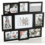 Cadre photo pêle-mêle mural coloris noir capacité 9 photos