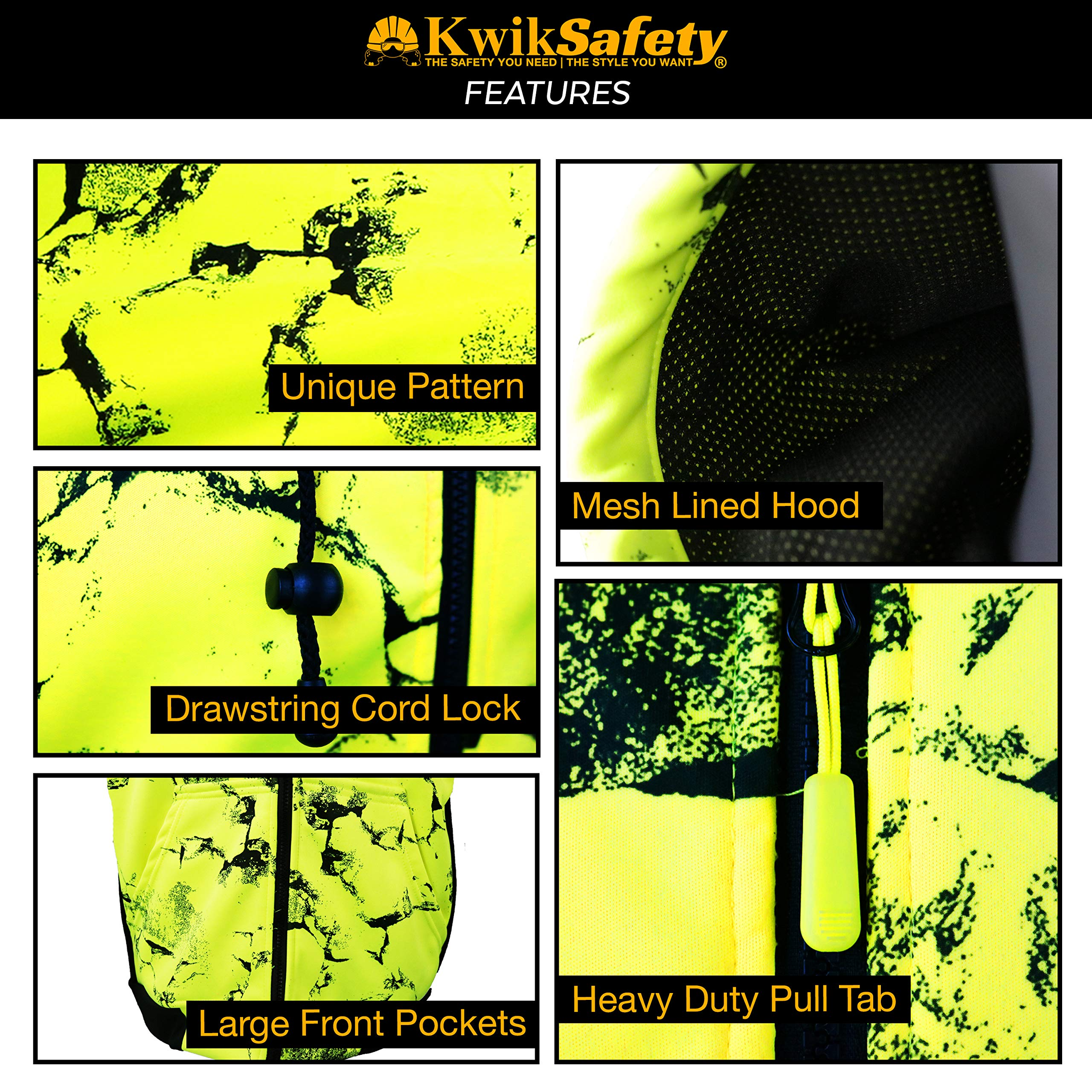 KwikSafety UNCLE WILLY'S WALL High Visibilty Reflective Anti Pill ANSI Class 3 Safety Jacket with Hoodie, Yellow, X-Large by KwikSafety (Image #5)