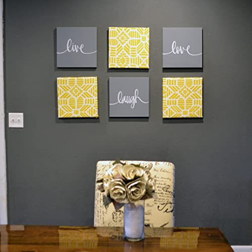 Amazon Com Yellow And Gray Dining Room Wall Art Set Eat Drink Be