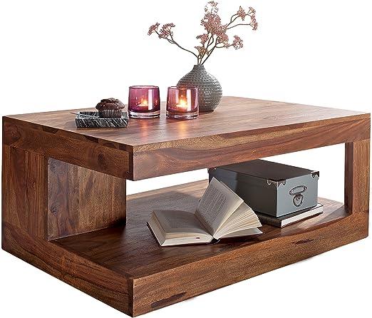 Wohnling Couchtisch Massiv-Holz Sheesham 90 cm breit Wohnzimmer-Tisch  Design Landhaus-Stil Beistelltisch Natur-Produkt Wohnzimmermöbel Unikat  modern ...