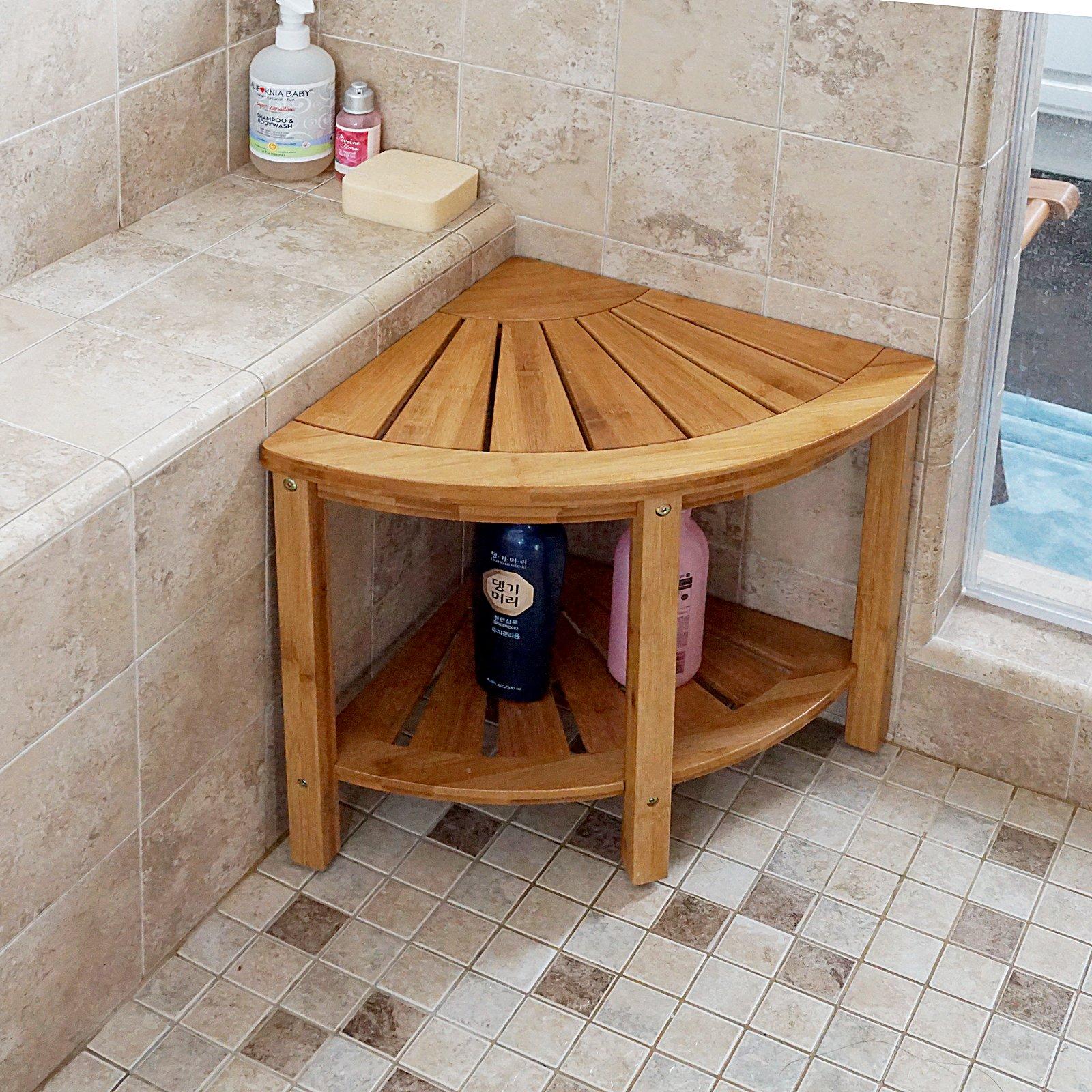 WELLAND Bamboo Corner Shower Bench/Stool Steat With Storage Shelf