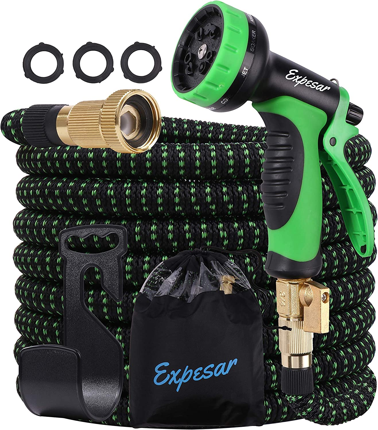 Water Hose 50 ft Expandable and Retractable Garden Hoses Super Lightweight,no kink,Heavy Duty Double Latex Core and equipped with 10 Patterns Nozzle Sprayer with Holder