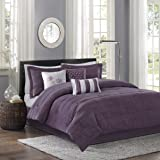 Madison Park Hampton Queen Size Bed Comforter Set Bed in A Bag - Purple, Jacquard Pleated Stripes – 7 Pieces Bedding Sets – Ultra Soft Microfiber Bedroom Comforters