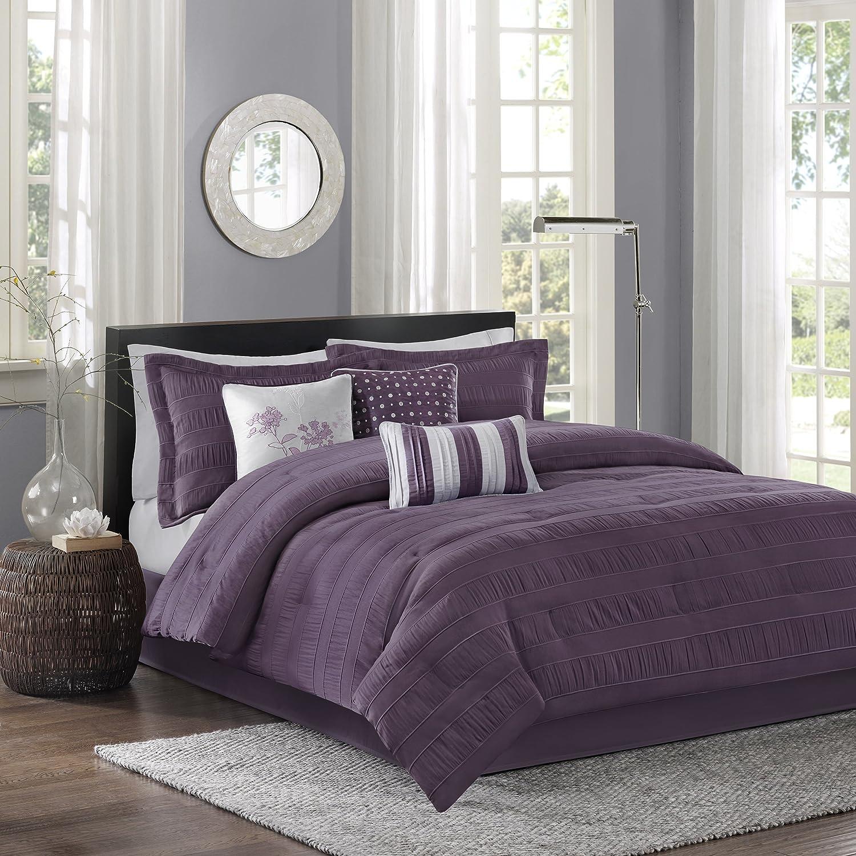 Madison Park Hampton 7 Piece Comforter Set Plum Queen