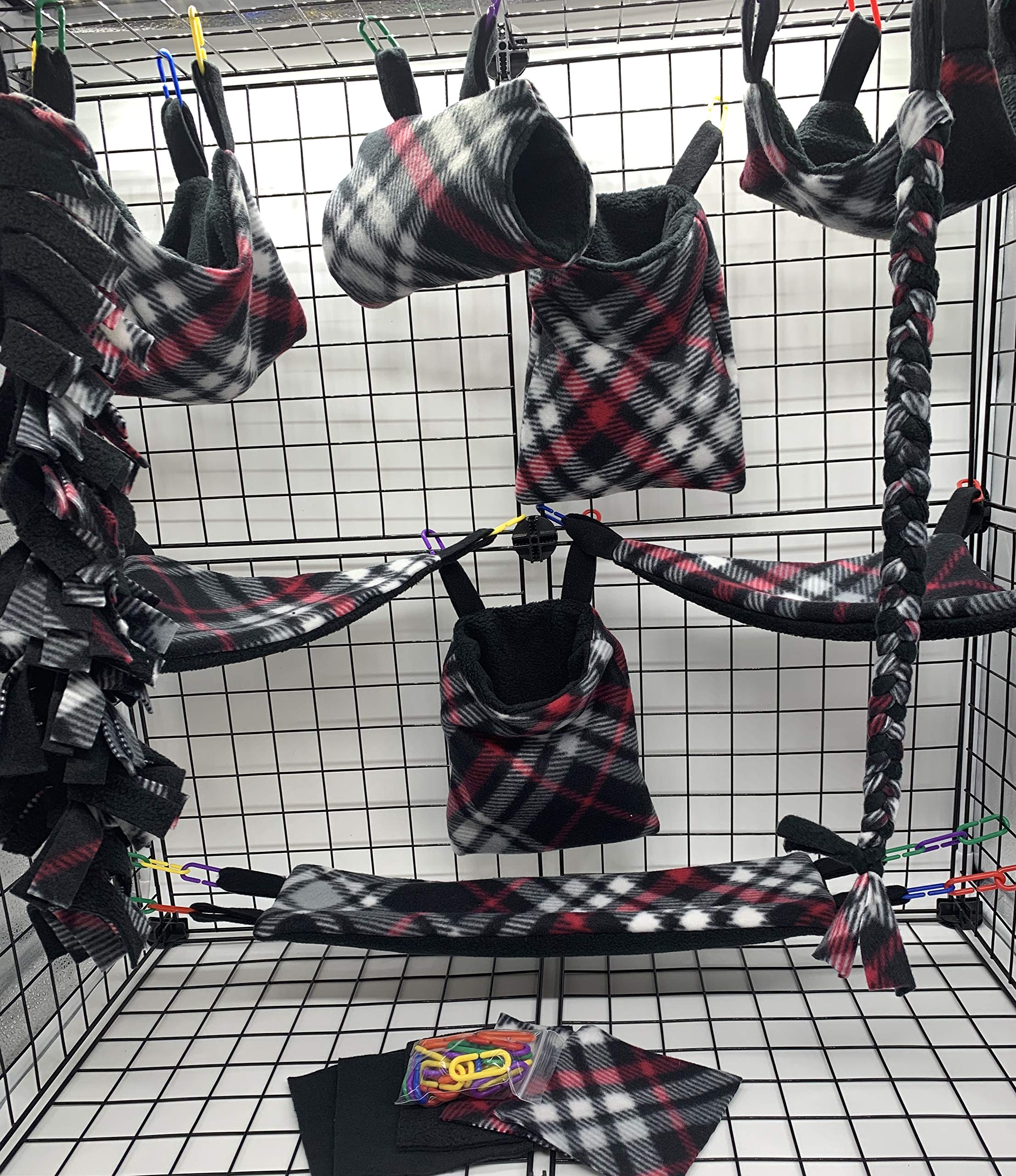 The Kozy Kritter 15 Piece Red Black and White Sugar Glider Cage Set by The Kozy Kritter