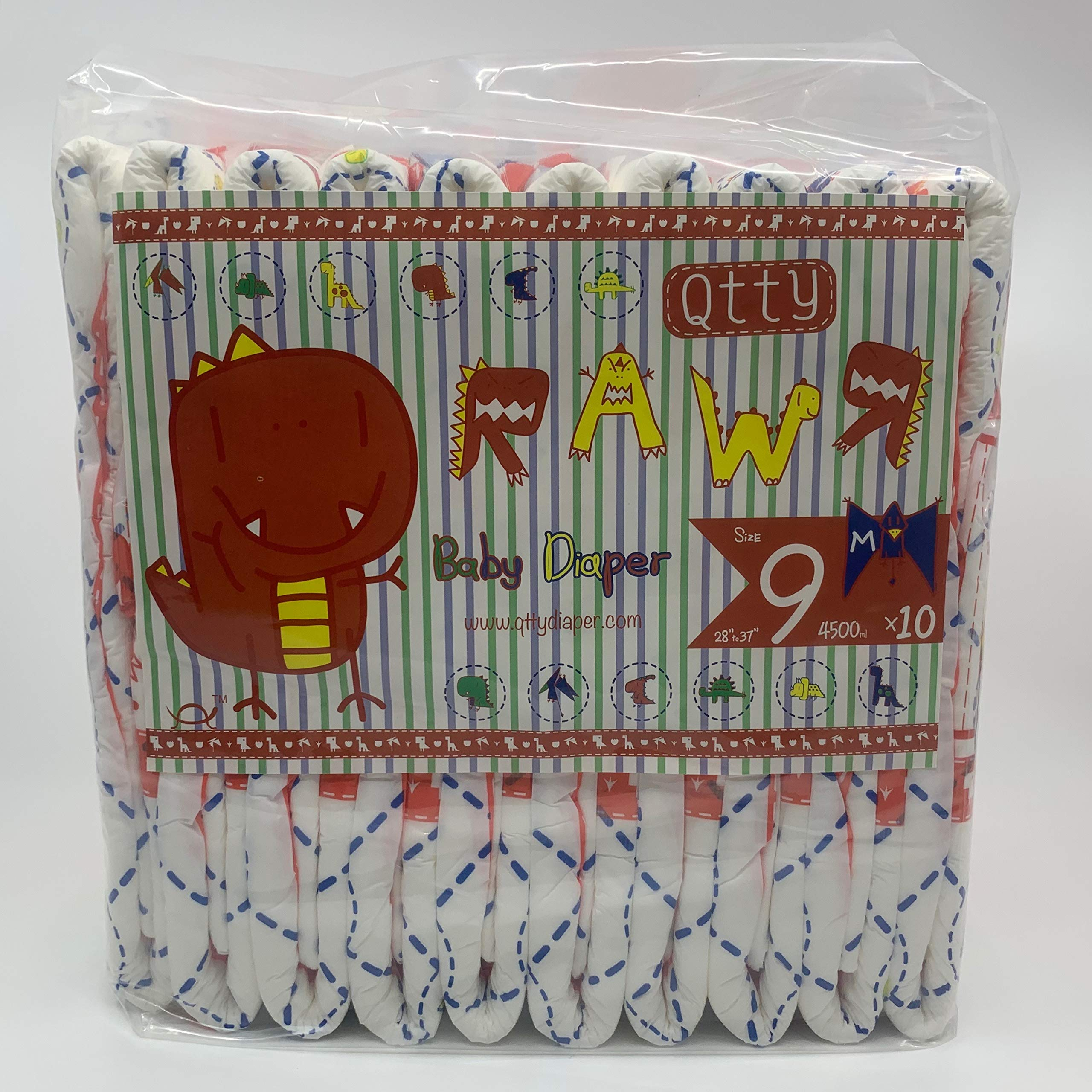 RAWR Diapers for ADULTS, Dinosaur print(Medium) by Qtty Diapers