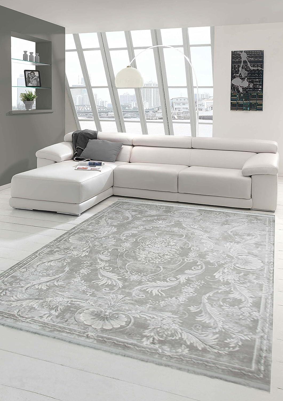 Designer Teppich Moderner Teppich Wollteppich Meliert Wohnzimmerteppich Wollteppich Ornament Grau Größe 80x150 cm
