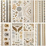 8 Sheets Metallic Tattoos Temporary Tattoos Body Art Stickers Waterproof Shiny Jewelry Flash Tattoos Boho Temporary Tattoos Bachelorette Tattoos Shimmer Designsin Gold and Silver