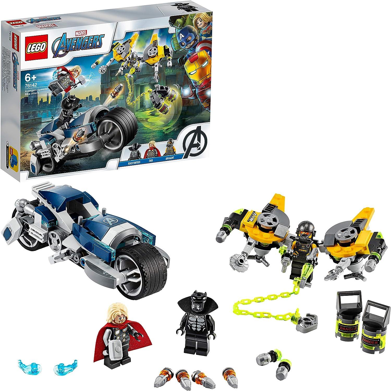LEGO Super Heroes - Vengadores: Ataque en Moto, Juguete de Construcción de Vehículo para Recrear al Aventuras de los Superhéroes, Incluye Minifiguras de Black Panther y Thor (76142)