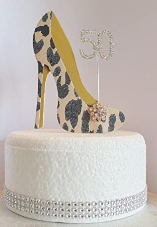 The Cake Wardrobe 50th Birthday Decoration Leopard Print Shoe With Gold Sole Age 50
