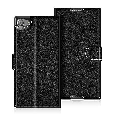 Coodio Sony Xperia Z5 Compact Hülle Leder Lederhülle Ledertasche Wallet Handyhülle Tasche Schutzhülle mit Magnetverschluss /