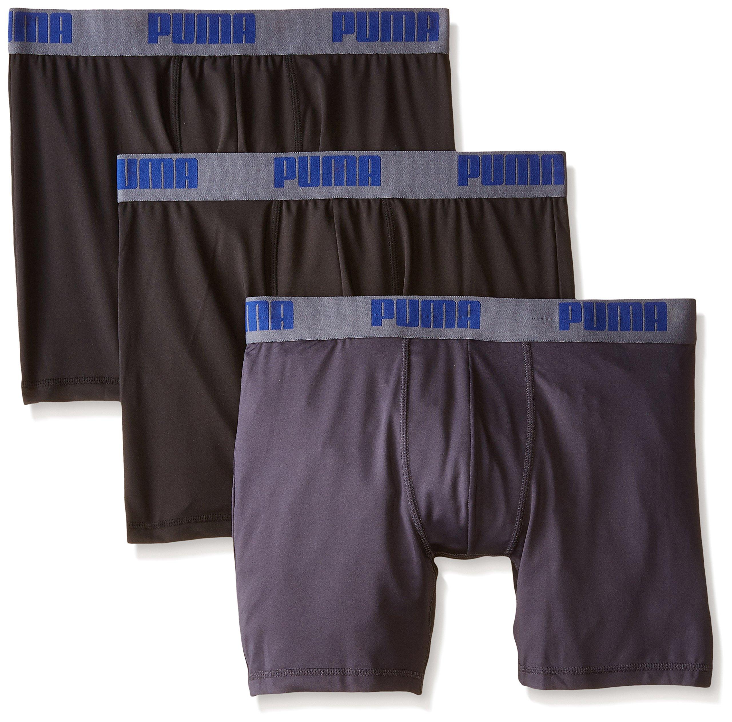 PUMA Men's 3 Pack Boxer Brief, Black/Grey, Medium
