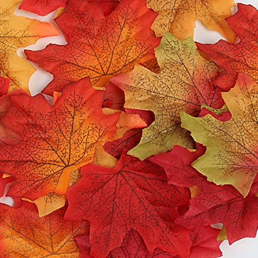 50 Count Bag Of Artificial Fall Maple Leaves in Varied Colors Silk Floral