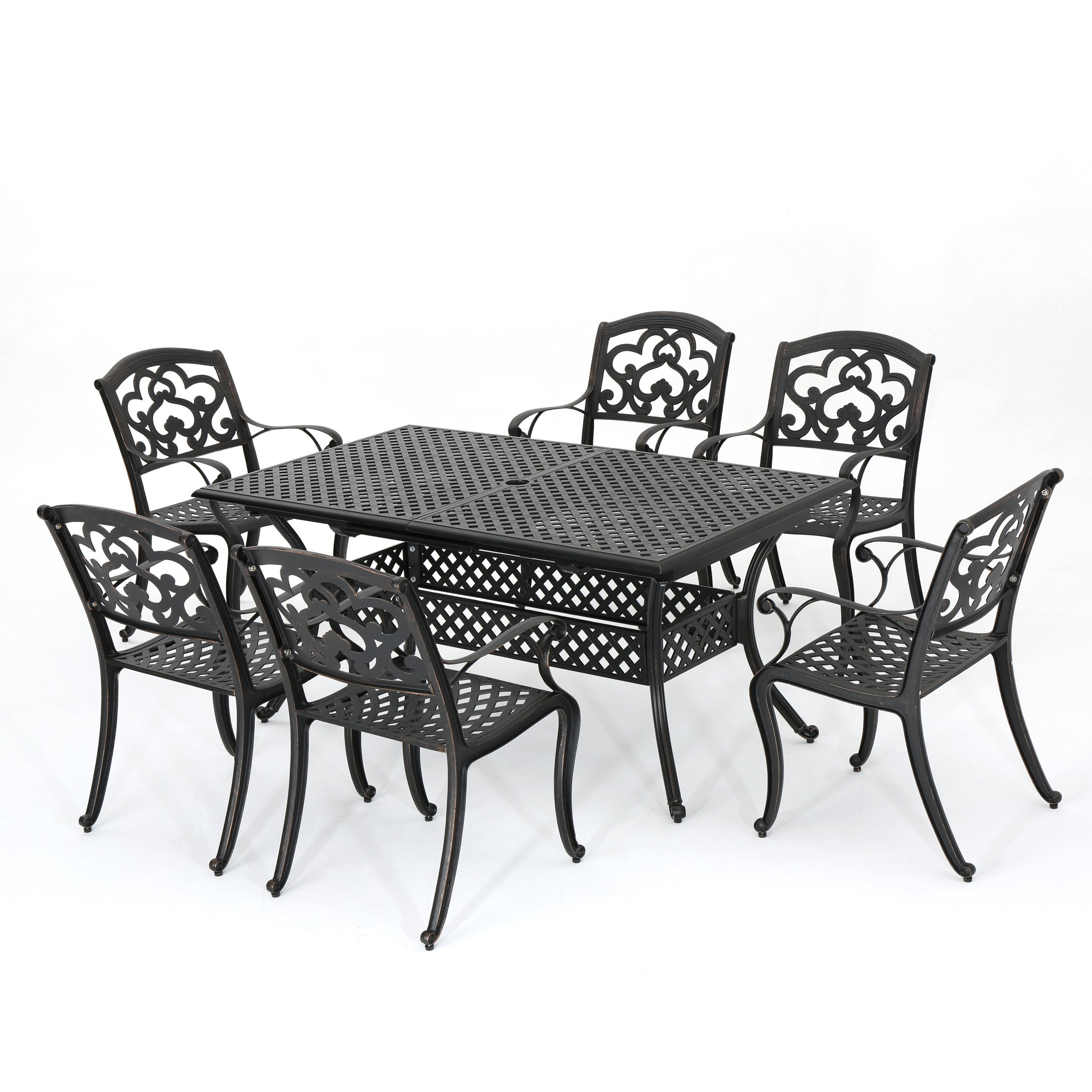 Dining Table With Three Extension Leaves And Six Matching: GDF Studio 300679 Ariel Outdoor 7 Pc Cast Aluminum Dining