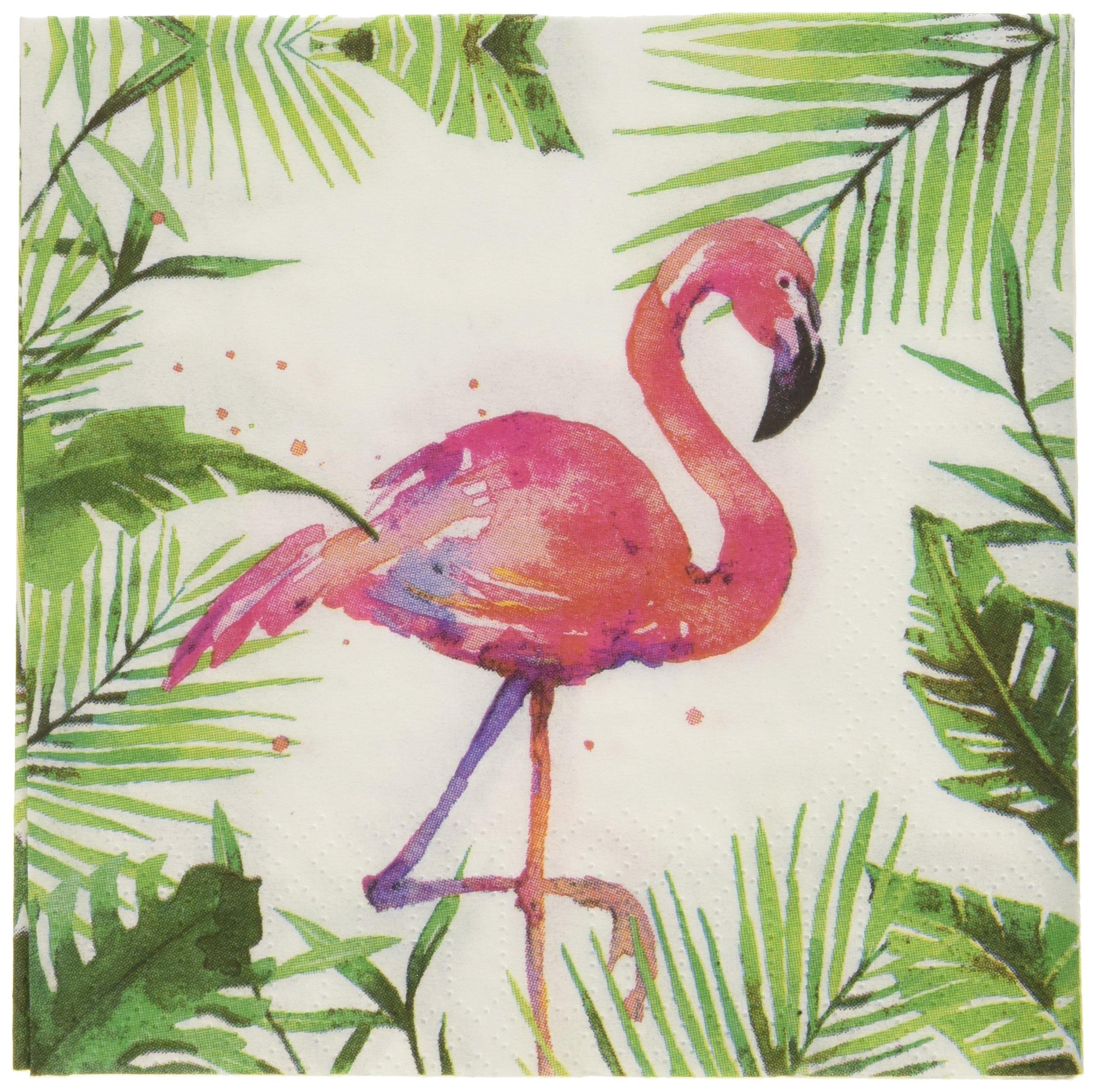 Paperproducts Design PPD 1252707 Tropical Flamingo Beverage/Cocktail Paper Napkins,5''x5'', Multicolor