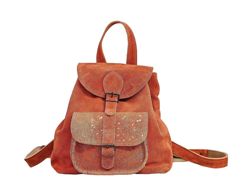 Paul Marius LE BAROUDEUR Abricot petit sac à dos en cuir suédé nubuck de vachette style vintage