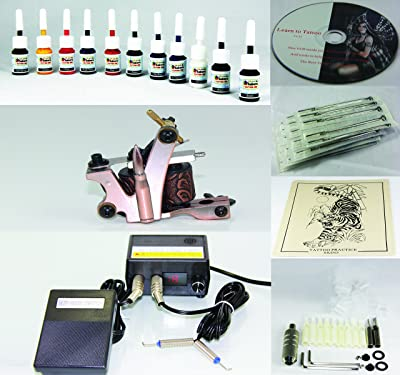 Complete Tattoo Kit Machine Gun 11 Color (Double Black) Inks + Needles + Power Supply (T1)