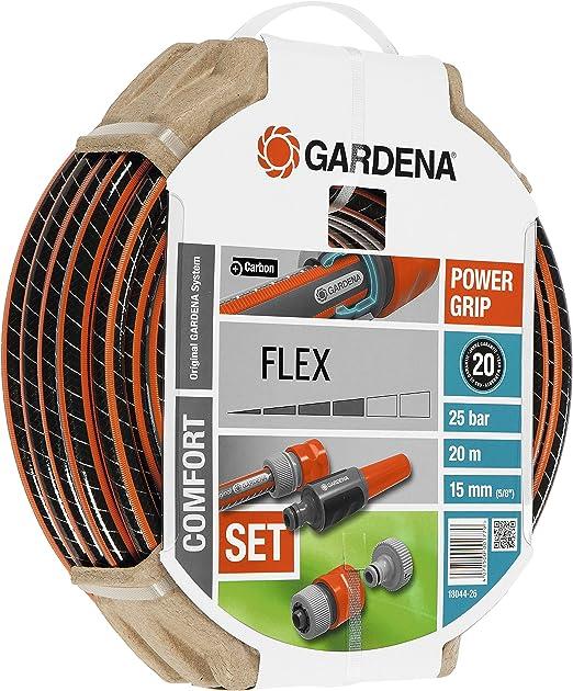 Gardena Set Flex Ø 15 mm con 20 m de Manguera, Lanza y Accesorios de riego, Estándar, 5/8