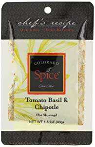 Colorado Spice Company, Seafood Spice, Tomato Basil & Chipotle for Shrimp, 1.5-Ounce Packet (Pack of 12)