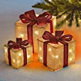Sentik® Set of 3 LED Light Up Decorative Coloured Christmas Parcel Set with Bow Indoor Outdoor Decoration Xmas Lights (Cream & Red)
