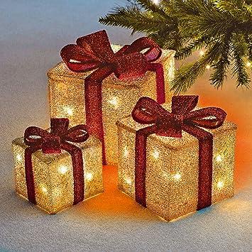 Sentik Lot De 3 Cadeaux De Noël Avec Nœud à Del De Décoration