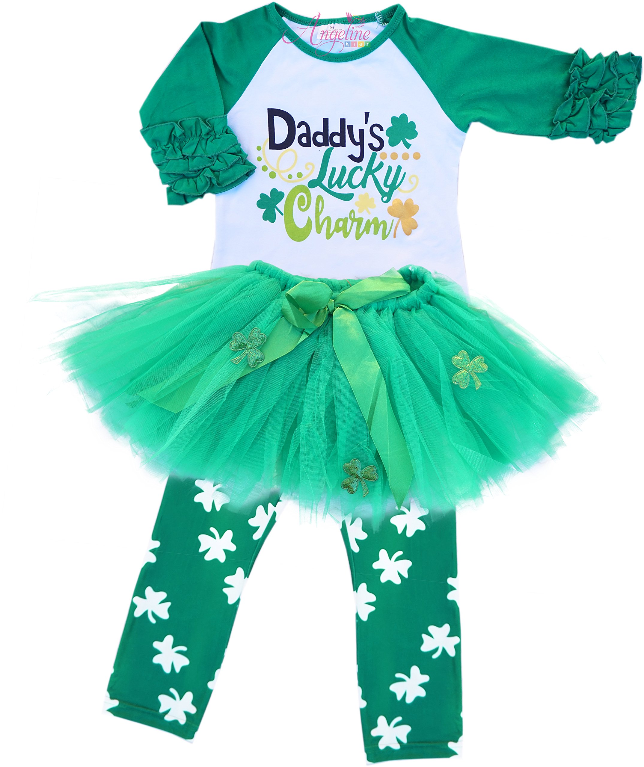 Angeline Girls ST Patrick's Day Daddy Lucky Charm Ruffles Shirt Skirt Set 6/XL