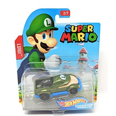 Hot Wheels Super Mario Character Cars Luigi Vehicle 2/7: Toys & Games