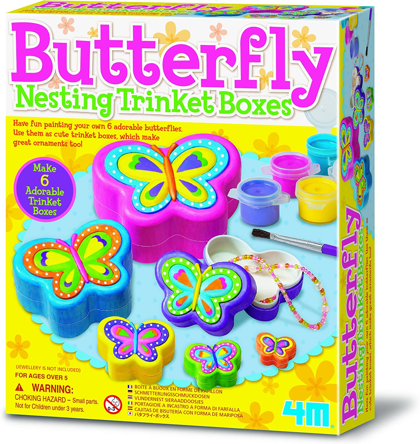 Paint 6 Butterfly Trinket Boxes Suitable For 5 Year Old Toy Personalise Gift Present Improve Their Creative Development Arts Crafts Christmas Birthday Game Accessory Girls Girl Kids Childrens Amazon Co Uk Toys
