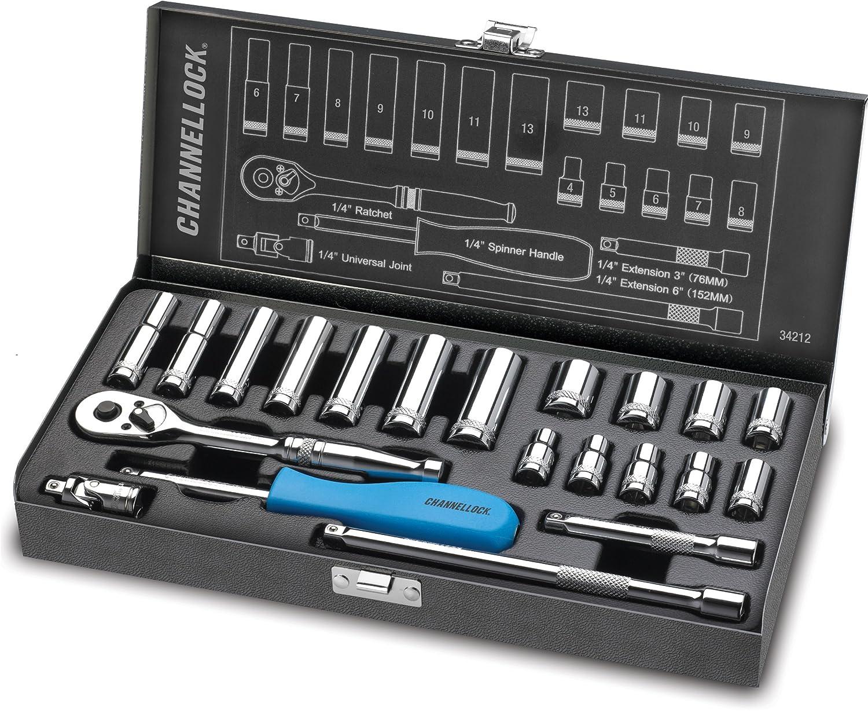 Channellock 34212 1/4' Drive Metric Socket set, 21 Piece