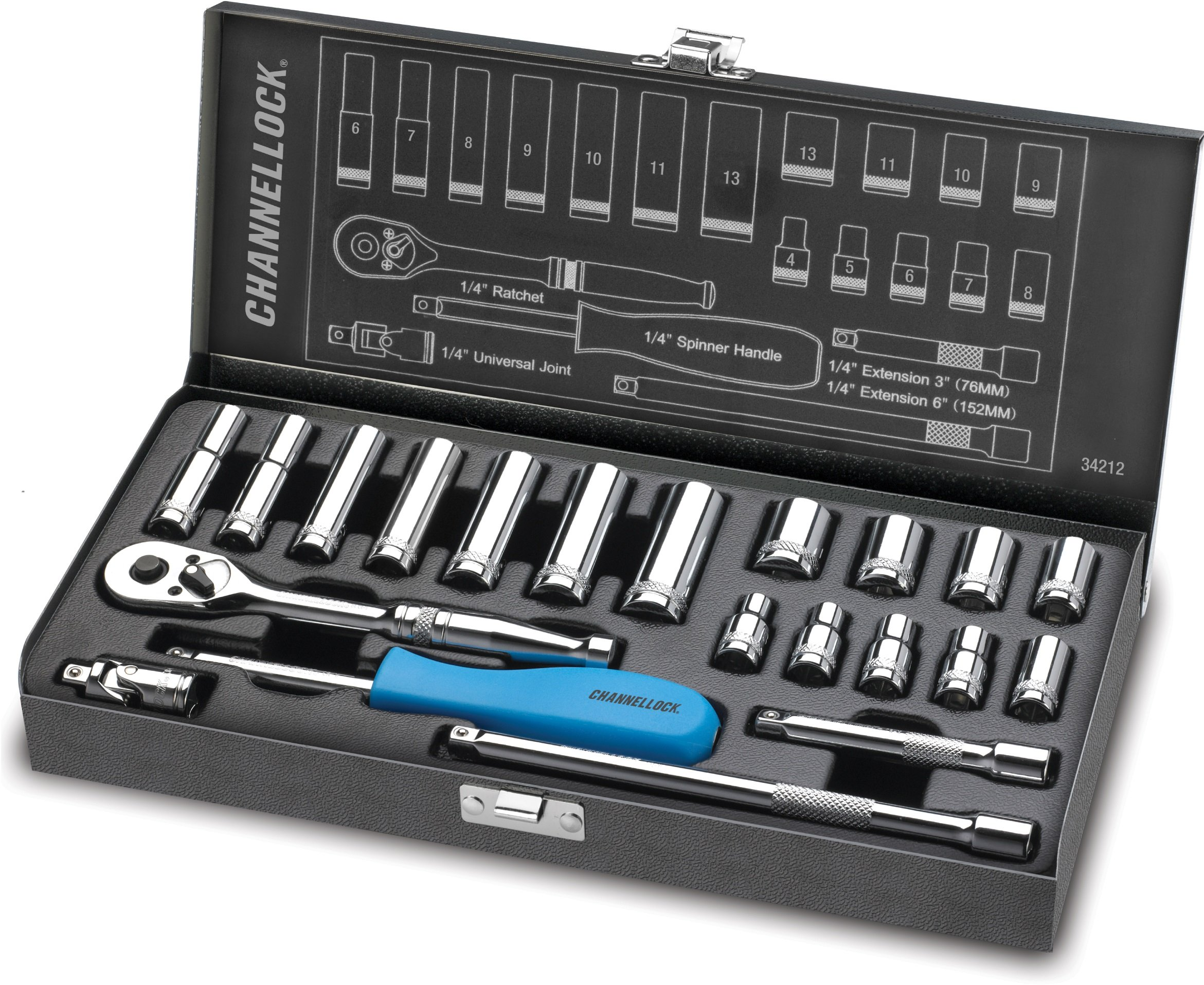 Channellock 34212 1/4'' Drive Metric Socket set, 21 Piece