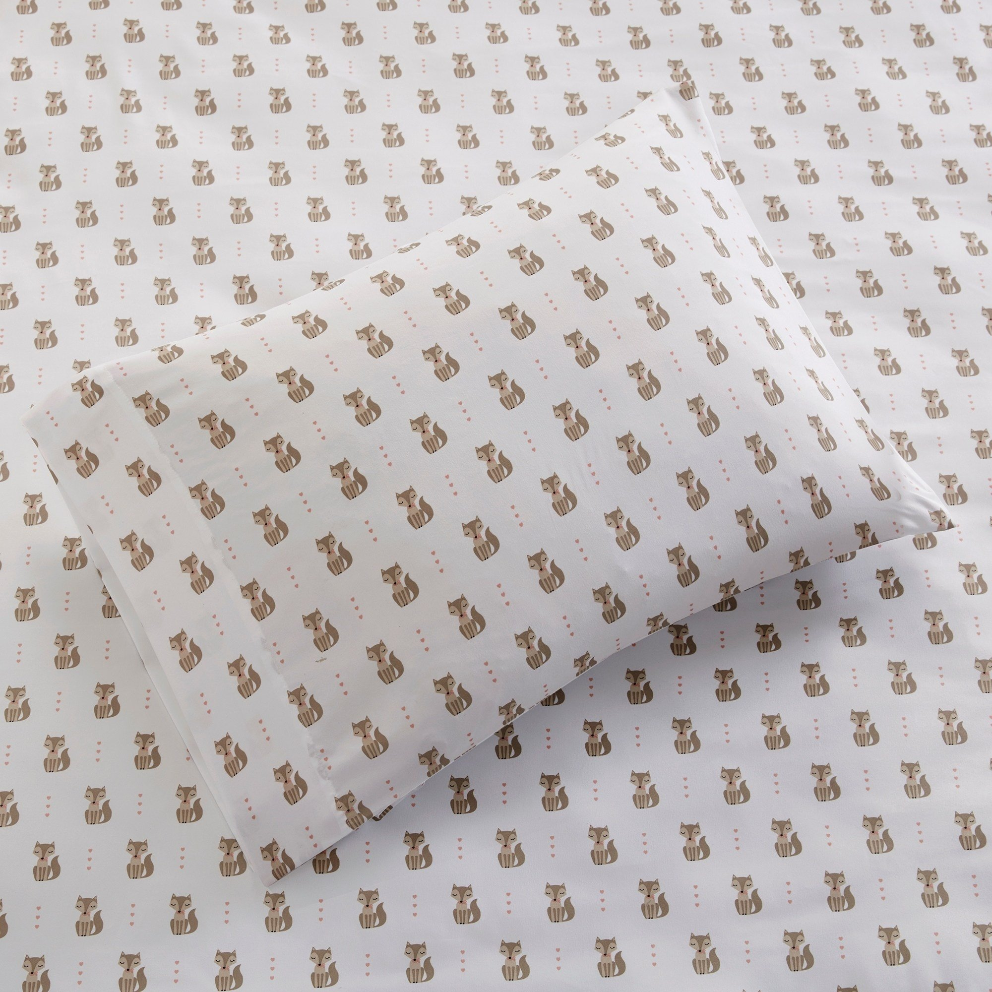 TN 3 Piece Off White Blue Cute Foxes Sheet Set Twin XL Sized, Cuddly Fox Bedding Pink Hearts Pattern Forest Animal Kids Childrens, Microfiber Polyester by TN (Image #3)