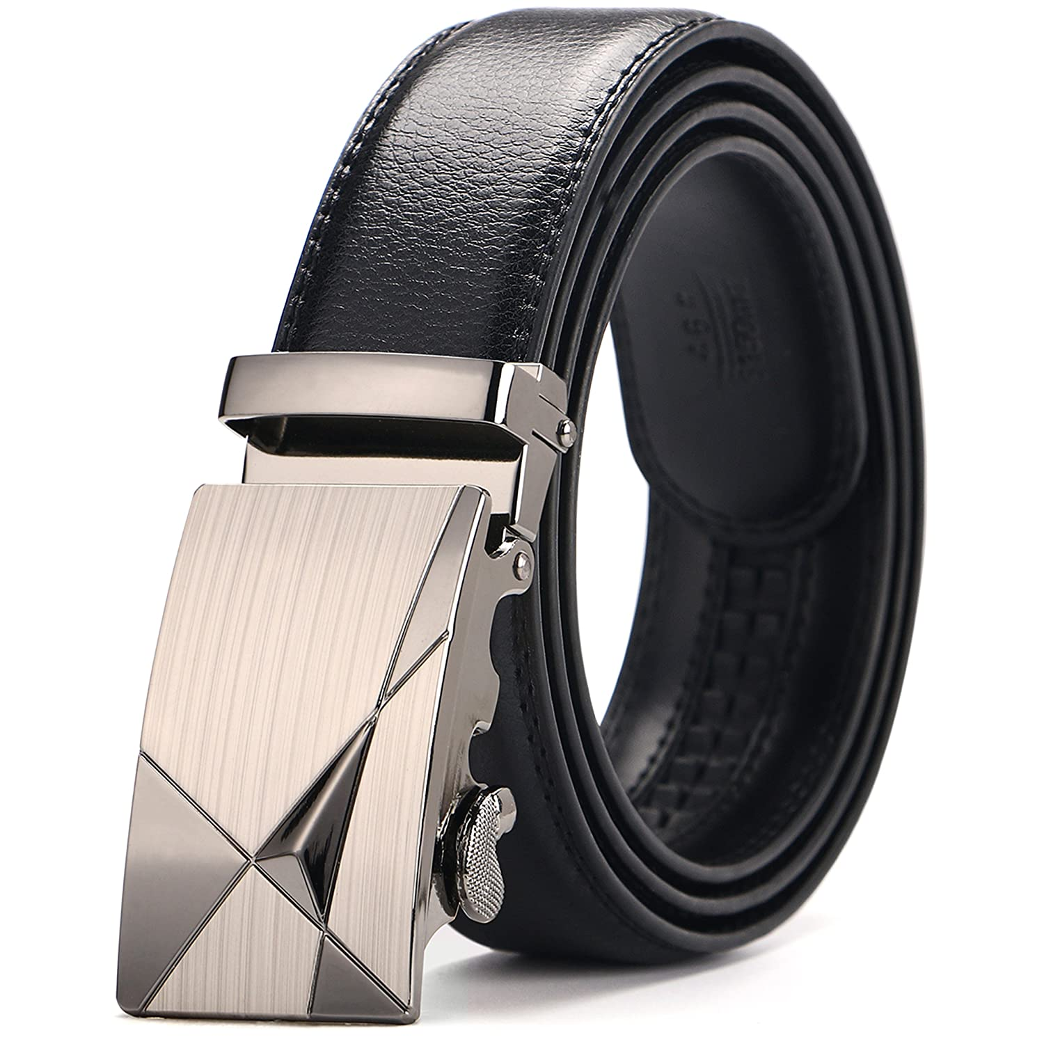 Men's Belts, Iztor Leather Ratchet Dress Belt with Automatic Buckle 1 1/8 Wider for from 20 to 43 Waist Men' s Belts BT1661