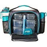 Jaxx FitPak Deluxe Meal Prep Bag with Portion Control Container Set & Shaker Cup