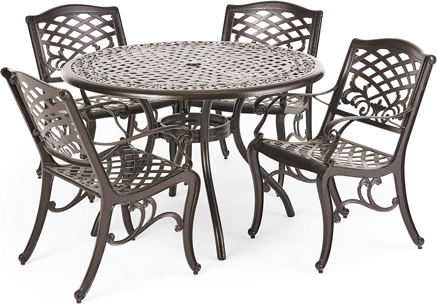 Christopher Knight Home Hallandale Outdoor Cast Aluminum Dining Set For Patio Or Deck 5 Pcs Set Black Garden Outdoor
