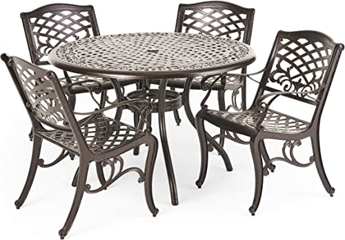Christopher Knight Home Hallandale Outdoor Cast Aluminum Dining Set