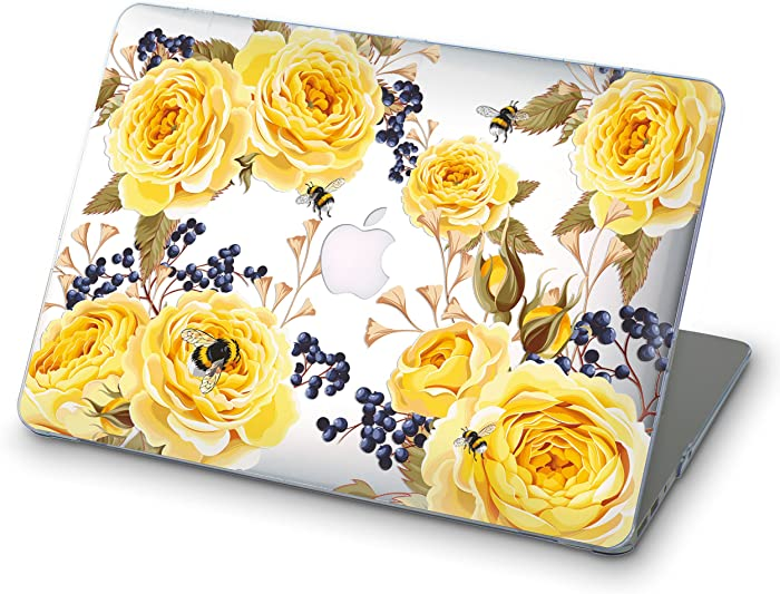 OhioCases Clear Flower Shell Case for Apple New MacBook Pro 13.3 Inch 2016 2017 Model A1706 with Touch Bar (Yellow Roses)