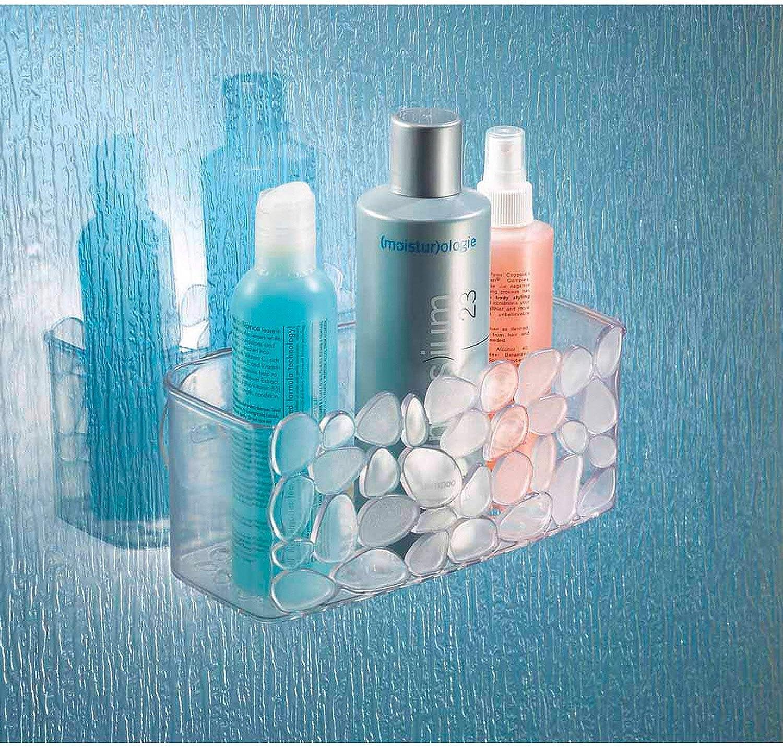 iDesign Cesta de ducha, pequeño estante de baño de plástico con ...