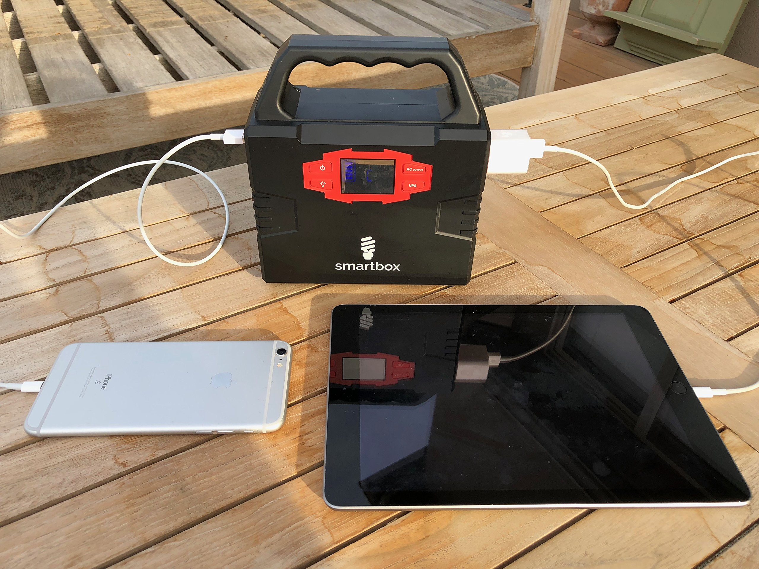 Smartbox Powerful Solar Generator -Portable Power Charging Station With Multiple USB & AC Outlets-100-Watt Emergency Solar Battery Charger With Ultra-Bright LED Light For Outdoor Activities by Smart Box (Image #3)