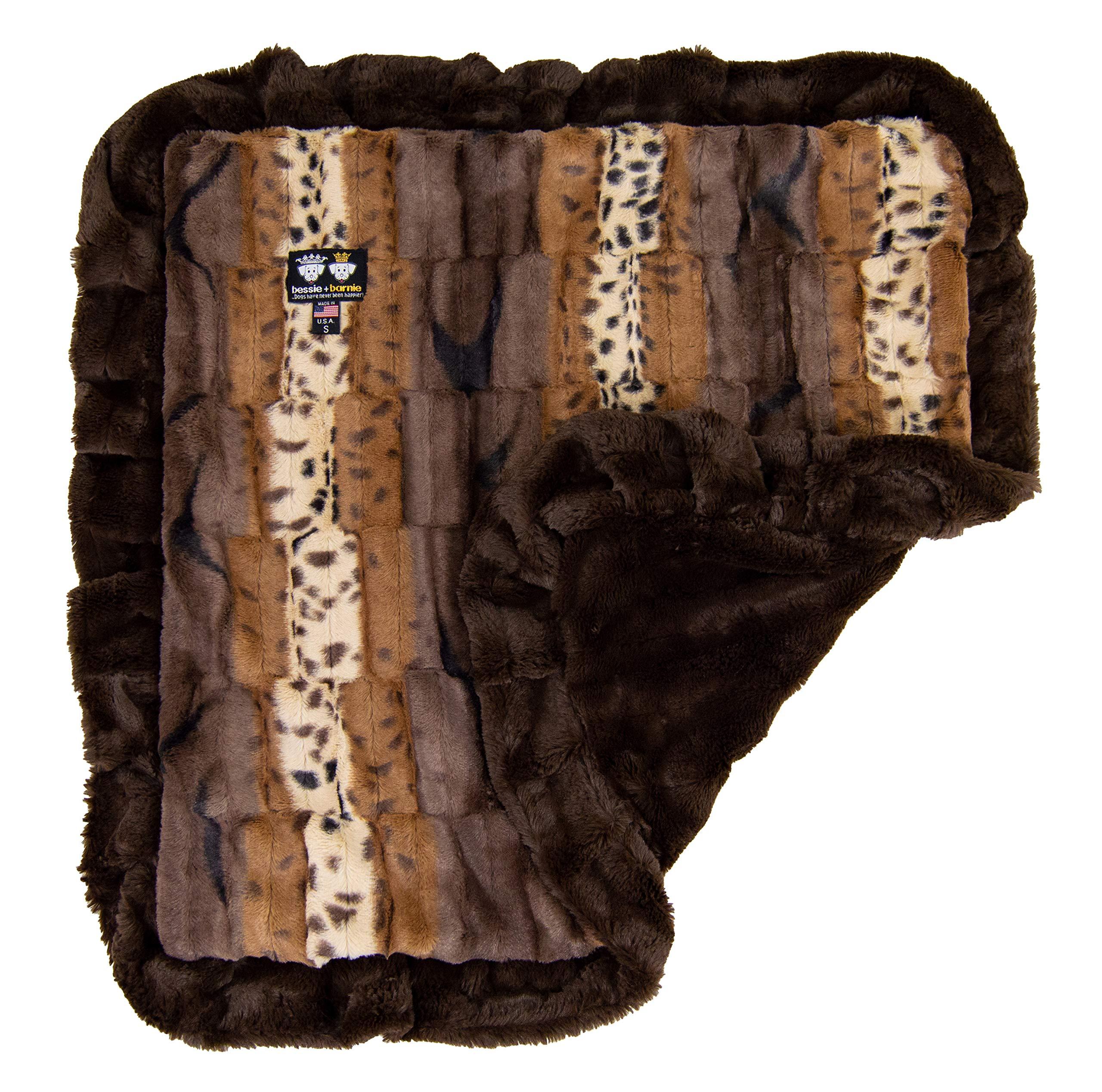 Bessie and Barnie Wild Kingdom/ Godiva Brown Luxury Ultra Plush Faux Fur Pet, Dog, Cat, Puppy Super Soft Reversible Blanket (Multiple Sizes)