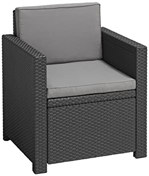 ALLIBERT Salon Victoria Fauteuil, Graphite/Cool Gris, 65 x 63 x 77 ...