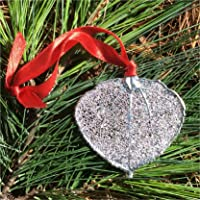 Real Colorado Aspen Leaf Ornament, Large,Lacy Silver Dipped, Genuine Leaf