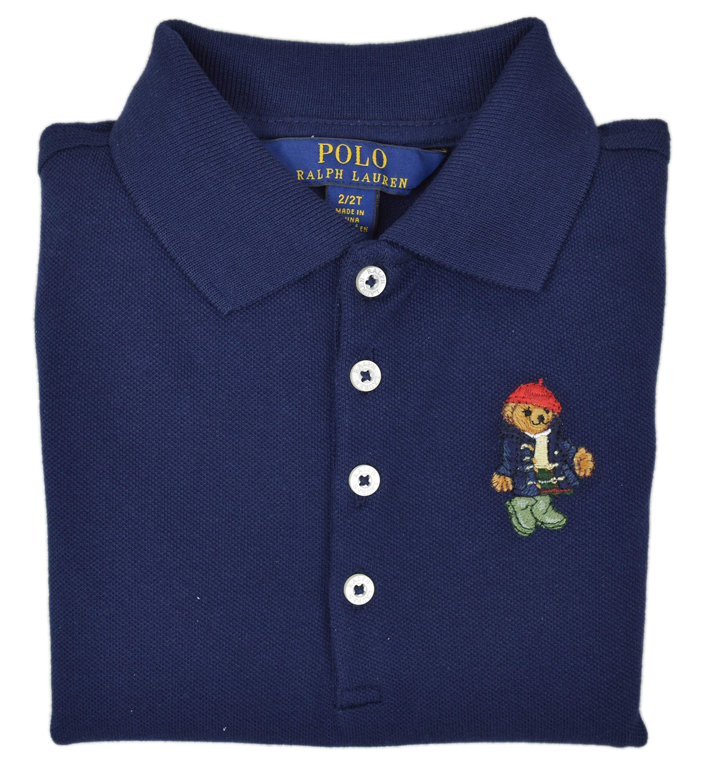 Polo Ralph Lauren Girl's Mesh Bear Logo Polo Shirt Short Sleeves, Navy (2/2T) (2/2T) by Polo Ralph Lauren (Image #2)