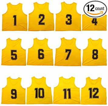 0e195d06c Oso Athletics Set of 12 Premium Mesh Numbered Scrimmage Vests Pinnies Team  Practice Jerseys with Carrying Bag for Children, Youth, and Adult Sports ...