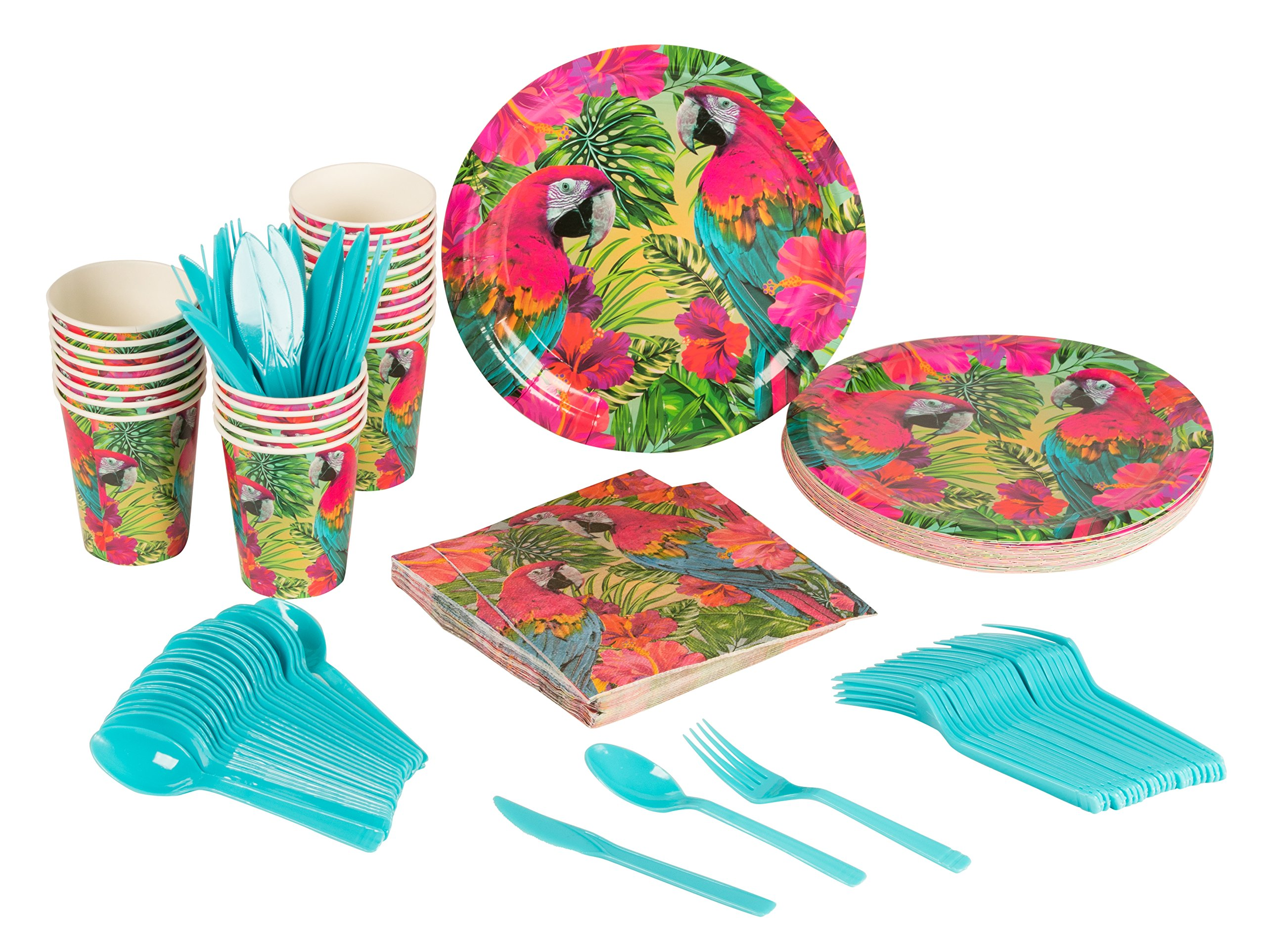 Disposable Dinnerware Set - Serves 24 - Tropical Party Supplies for Birthdays, Parrot Designs - Includes Plastic Knives, Spoons, Forks, Paper Plates, Napkins, Cups