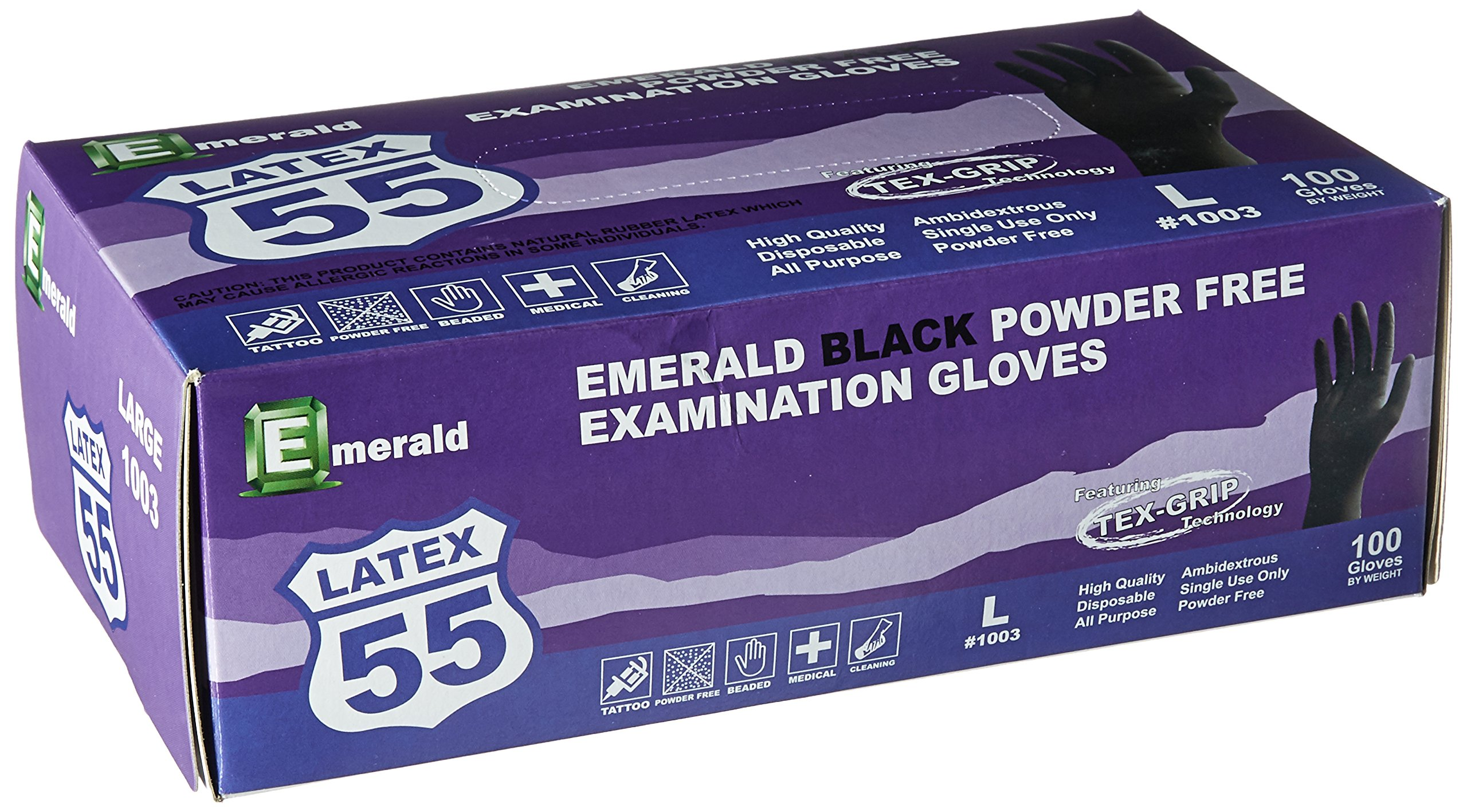 Emerald 1003 Black Latex Powder-Free Exam Gloves with Textured Grip, 10 Boxes of 100, Total 1000 Gloves Size: Large, by Emerald (Image #2)