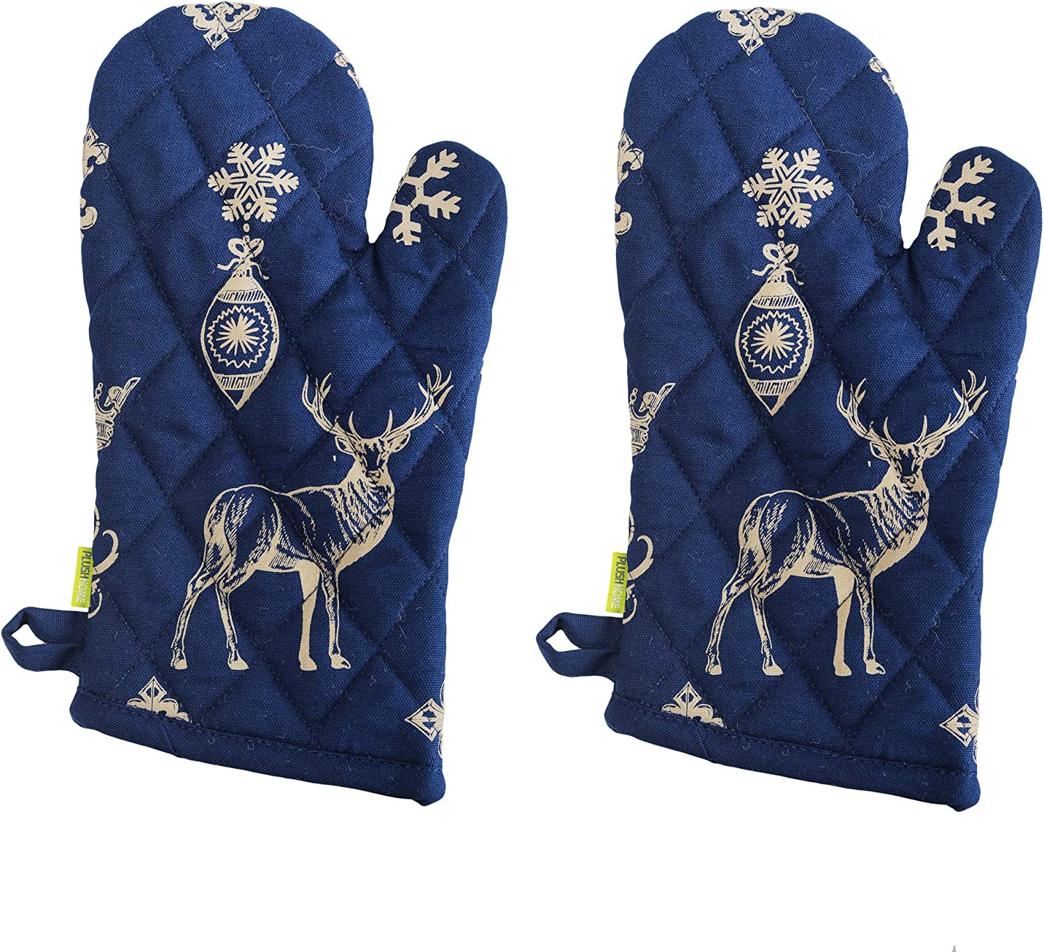 "Set of 2 Oven Mitts - Indigo Christmas design, 100% Cotton of Size 7""X12 Inch with high heat resistant polyester filling for Thanks Giving, Christmas & other Holiday Season."