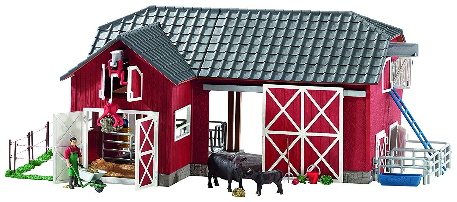 a2c37176ff7 Amazon.com: Schleich 72102 Barn with Animals & Accessories Action Figures,  One Size, Red: Schleich: Toys & Games